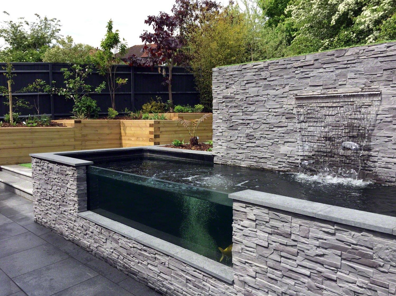 Modern Sloping Garden With Feature Koi Pond Lush Garden Design