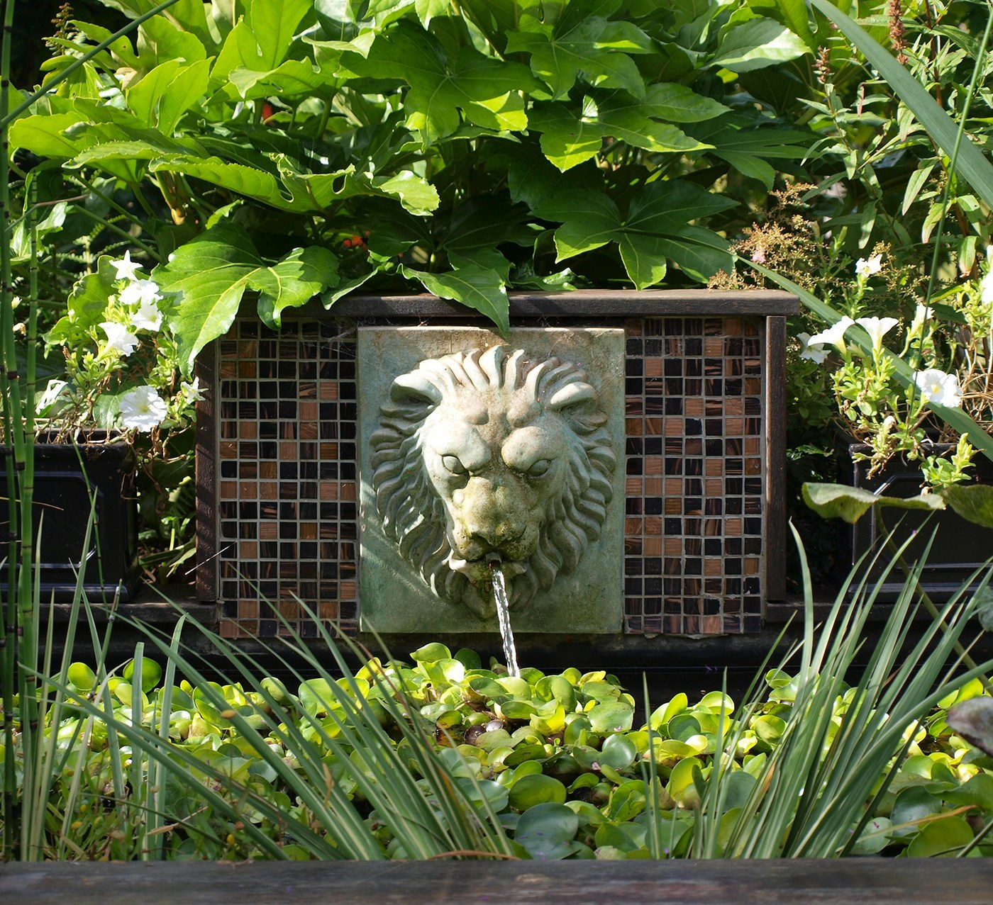 Lush Garden Design Traditional Lion Water Feature with Marginal Planting